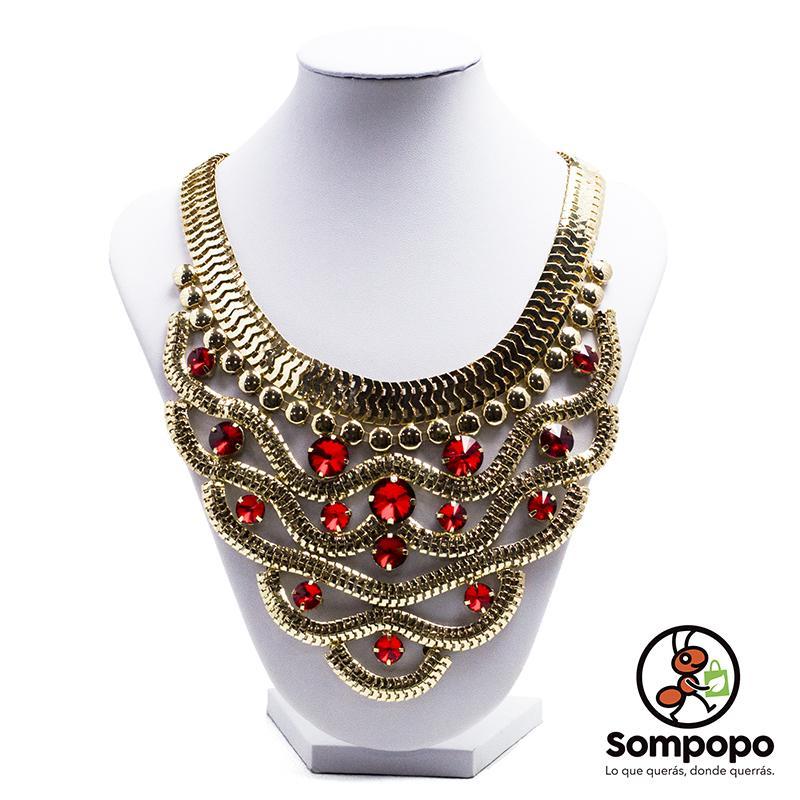 a4da1a7bceed Collar de Fantasía Fina y Cristalería Roja